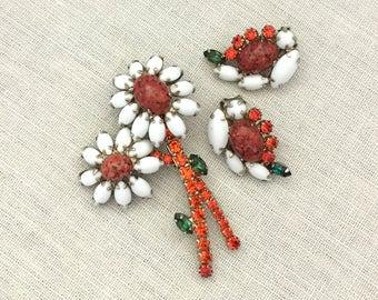 WEISS Rhinestone Brooch Earrings Set - Summer Jewelry White Flower Brooch Set - Rhinestone Demi Parure - Clip On Earrings