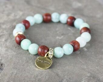 Amazonite and Rosewood bracelet, yoga bracelet, breathe bracelet, zen bracelet, under 20, stretch bracelet, stacking bracelet, arm party