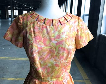 50s Jean Lang Orange, Peach, and Yellow Cotton Dress