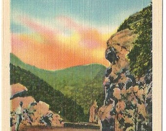 Roadway Scene In The Heart of the Mountain Orange Pink Sunrise Vintage Linen Postcard approx 1930's-1940's
