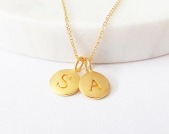Gold 2 Initial Charm Necklace - Initial Necklace - Custom Initial Necklace - Personalized Jewelry