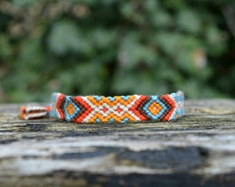 Arrow friendship bracelet, tribal friendship bracelet, chevron arrow bracelet, cotton handwoven bracelet - SMALL (ready to ship)