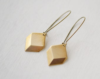 Brass Earrings, Boho Earrings, Geometric Earrings, Long Earrings, Diamond Shape Earrings, Bohemian Earrings