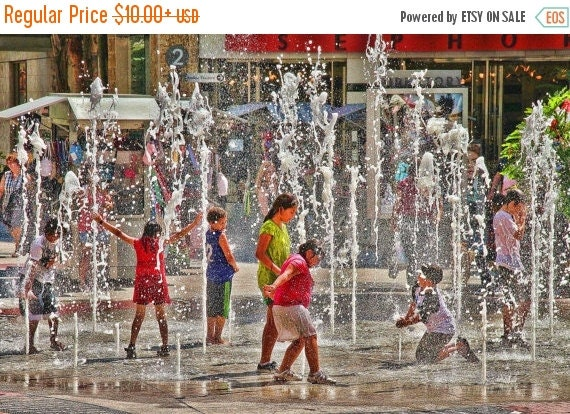 SALE 20% OFF Children Playing in Fountain Color Photograph Joy Happy Summer Fine Art Photograph Colorful Water Art Print Hollywood Californi
