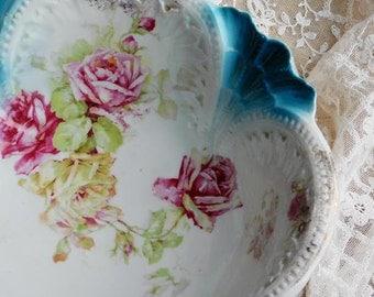Antique Rose Flower Bowl, Porcelain Serving Dishes, Shabby Cottage Decor, P/S Sorau Germany