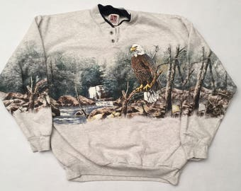 Vintage Bald Eagle 1/4 Button Up Sweatshirt