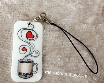 I *heart* Coffee Shrink plastic phone charm