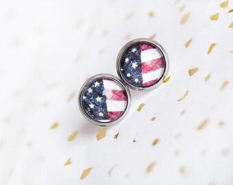 USA Earrings, Red White Blue, Flag Earrings, America, American Flag, Fourth of July, Photo Post, Patriotic Gift, Stripes, Stars