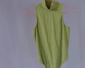 SALE Green Turtleneck Bodysuit sleeveless leotard thong bodysuit Rene Lezard Vintage 90's