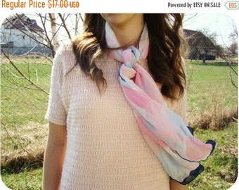 "SALE VTG 1980's ""Loredana"" Pastel colors Silk Scarf"