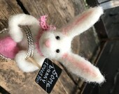 Reserved For Gloria-Wool Bunny Sculpture - Some Bunny Loves You Basket