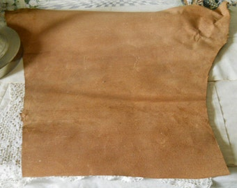 Vintage Tanned Leather Large Piece For Crafts Jewelry Scrapbooking Large Soft Leather Scrap Supplies
