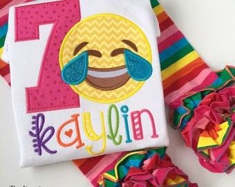Emoji Birthday shirt for girls -- Laughing Emoji -- bright colors with super fun emoji and her name in rainbow colors