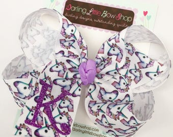 Unicorn Hairbow, Unicorn Bow, Glitter Monogrammed Bow - Unicorn bow with glitter initial made with our Exclusive ribbon