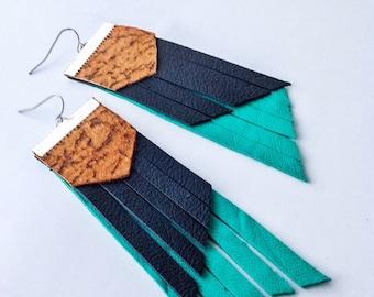Teal earrings, black leather, black leather earrings, repurposed leather earrings
