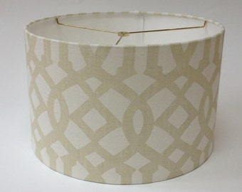 "Drum Lampshade in Schumacher Imperial Trellis fabric in Sand 16"" D X 10"" H - Ready to Ship!"