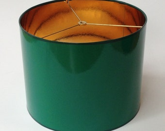 "High Gloss Dark Green Lamp Shade 14"" Diameter X 11"" Tall With Gold Lining"