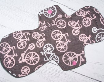 Cotton Top  pad heavy flow or overnight pad with wings 12 inches-Bicycles in Bloom