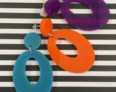 Sassy Sixties hoop earrings, bright colours