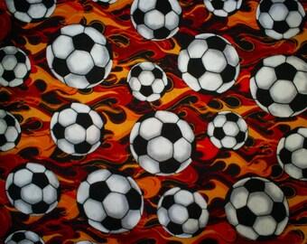 1 1/3 yards. Flaming Soccer Balls.