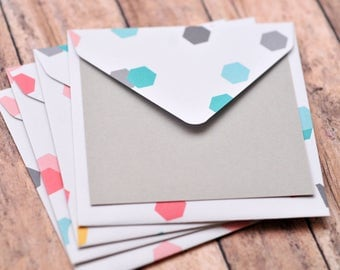 SALE-Hexagon Mini Cards // Set of 4 // Blank Cards // Enclosure Cards // Love Note // Square Cards // Scrapbooking