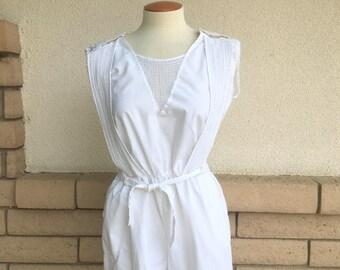 80s Romper Playsuit Summer High Waist Short Jumpsuit w/Pockets Sunsuit M-L