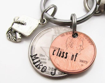 Personalized Graduation Gift - Hand Stamped KeyChain - Class of 2017 Gift - Personalized Penny - Graduate Keychain - Custom Senior Gift