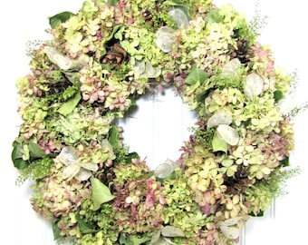 Natural Hydrangea Wreath, Dried Flower Wreath