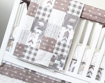 Woodlands Crib Bedding Set, Grey, Brown, Taupe, Moose, Bear, Birch Trees, Baby Nursery, Animal Sheet, Arrows Crib Skirt, Teething Rail