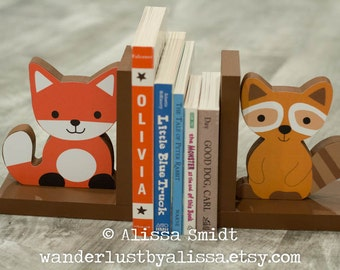 Fox and Raccoon Wood Bookends - Custom Created to Coordinate with Your Decor or Nursery Letters (Echo bookends, woodland animals, brown)
