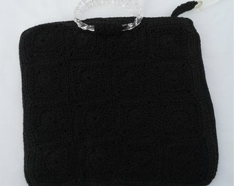 Classic 1940's Black Crochet Square Purse w/ Lucite Handles and  Pull