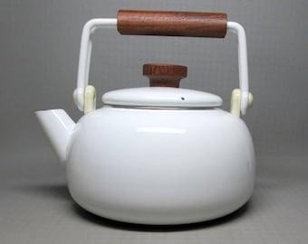 White enamel teapot with wooden handles ( teak ? )