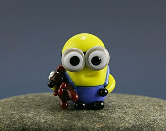Kevin and Bob Minion Despicable me  Lampwork  Bead / miniature / sculpture / figurine
