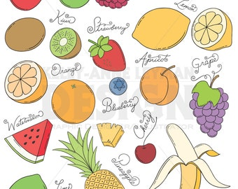 Doodle Fruit Clip Art Set—Hand drawn Food Clipart—Commercial Use—Digital Download Art—Vector Graphics