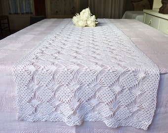 Long French Table Runner - French antique - french linen & handworked lace CROCHET Table Runner - Antique french Linen