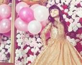Gold flower girl dress, great gatsby dress, gold pageant dress