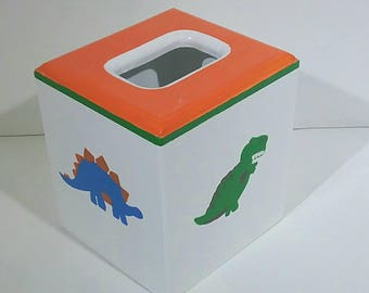 Wooden Tissue Box - Kids Dinosaur Tissue Box - Colorful Tissue Box - Bathroom Decor - Bedroom Decor - Tissue Holder - Dinosaur Tissue Cover