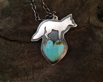 Sterling fox and turquoise heart necklace