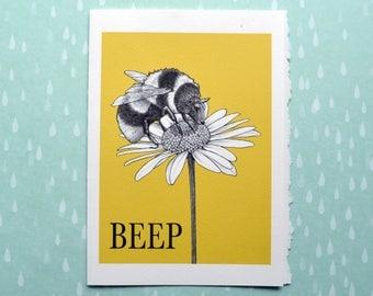 "Beep Greeting Card, Bee + Sheep Hybrid Animal, 5x7"" Blank Card, Portland OR, Unique Bee Gift"