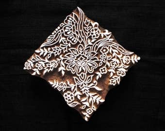 Square floral Indian hand carved block printing stamps/textile pottery stamp/tjap/wooden block for printing/ paper fabric printing stamp