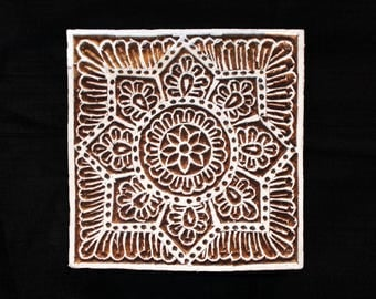 Square Indian block printing stamps/hand carved Indian wooden block for printing/textile pottery stamp/tjap paper fabric printing stamp