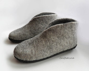 wool felted slippers - boot slippers womens - shoe slippers - house shoes made to order