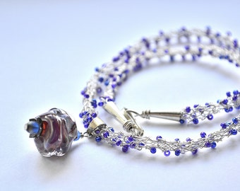 "Wrap Bracelet 16"" Necklace Hand Knitted Fine Silver Wire lampwork charm"