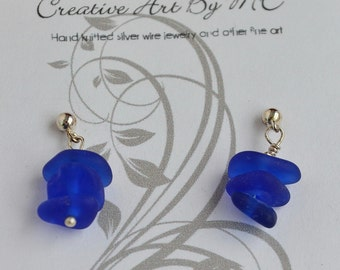 Colbalt blue Sea Glass Earrings with Sterling Silver