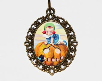 Halloween Necklace, Pumpkin Girl, Spooky Jewelry, Jack O Lantern, Oddity, Bronze Oval Pendant