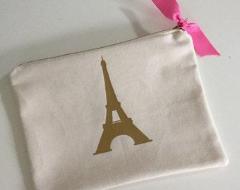 Zipper Pouch, Effiel Tower, Paris, Pink, Stocking Stuffer, Hostess Gift, Teacher Gift