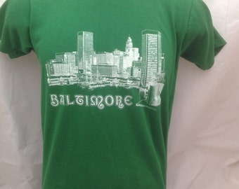 Adult Vintage Green Baltimore  Tee T Shirt M  (38-40)