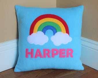 Personalized Rainbow Pillow