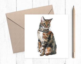 Tabby Cat Blank Greeting Card, tabby cat, cat card, blank card, any occasion, ideal for cat lovers