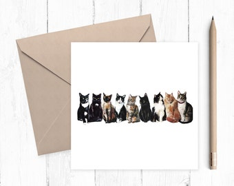 Cat Scene Blank Greeting Card, cat card, blank card, any occasion, ideal for cat lovers